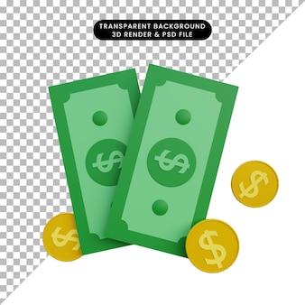 Ilustração 3d dinheiro e moeda