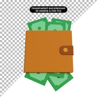 Ilustração 3d dinheiro na carteira
