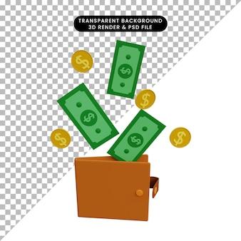 Ilustração 3d: dinheiro saindo da carteira