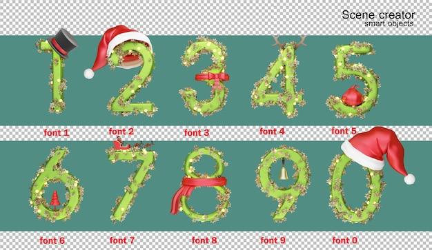 Ilustração 3d do alfabeto inglês no dia de natal