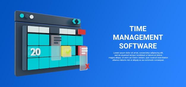 Ilustração 3d do aplicativo de calendário ou ferramenta de gerenciamento de planejamento de projeto