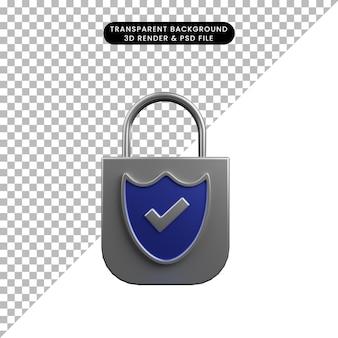 Ilustração 3d do cadeado de conceito de segurança com escudo e ícone de lista de verificação