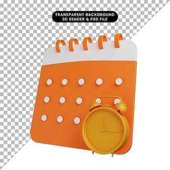 Ilustração 3d do calendário com despertador