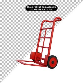 Ilustração 3d do carrinho de caixa vermelha