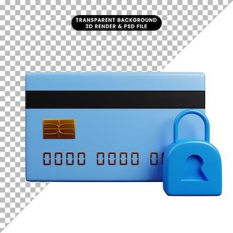 Ilustração 3d do cartão de crédito do ícone do conceito de pagamento com cadeado