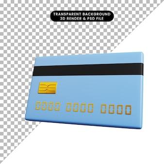 Ilustração 3d do cartão de crédito do ícone do conceito de pagamento