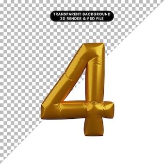 Ilustração 3d do conceito de balão dourado número 4