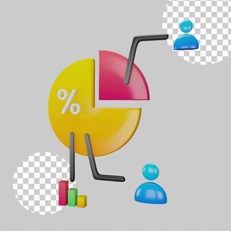 Ilustração 3d do conceito de compartilhamento