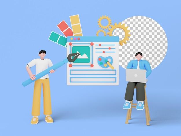 Ilustração 3d do conceito de design gráfico
