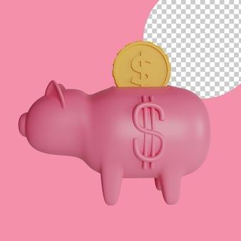 Ilustração 3d do conceito de economia