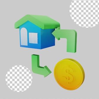 Ilustração 3d do conceito de empréstimo à habitação