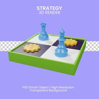 Ilustração 3d do conceito de estratégia de negócios
