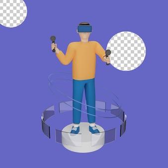 Ilustração 3d do conceito de fone de ouvido de realidade virtual
