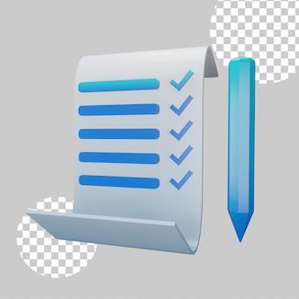 Ilustração 3d do conceito de formato de lista