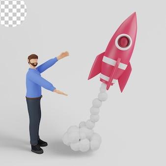 Ilustração 3d do conceito de lançamento de negócios