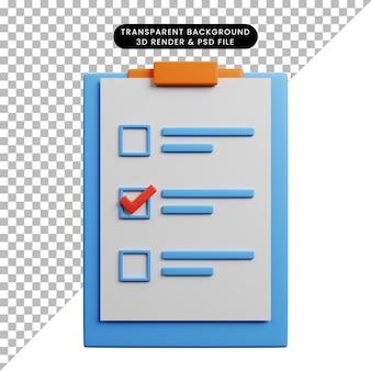 Ilustração 3d do conceito de lista de verificação a bordo com papel