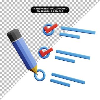 Ilustração 3d do conceito de lista de verificação com lápis