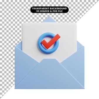 Ilustração 3d do conceito de lista de verificação em envelope com papel de lista de verificação