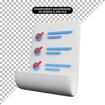Ilustração 3d do conceito de lista de verificação no papel
