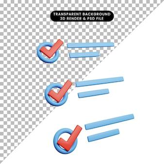 Ilustração 3d do conceito de lista de verificação