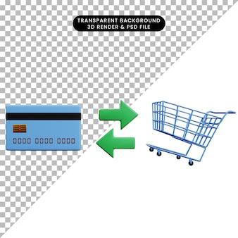 Ilustração 3d do conceito de pagamento, cartão de crédito e carrinho de compras