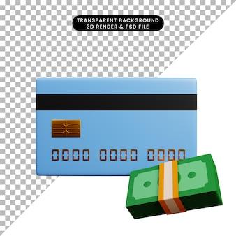 Ilustração 3d do conceito de pagamento de cartão de crédito com pilha de dinheiro