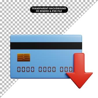 Ilustração 3d do conceito de pagamento de cartão de crédito com seta para baixo