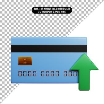 Ilustração 3d do conceito de pagamento de cartão de crédito com seta para cima