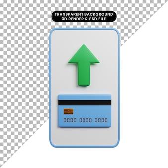 Ilustração 3d do conceito de pagamento do smartphone com a seta do cartão de crédito para cima