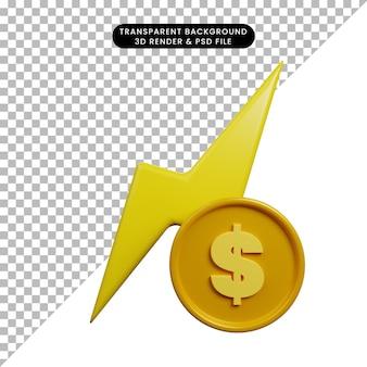 Ilustração 3d do conceito de pagamento elétrico com moeda