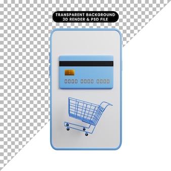 Ilustração 3d do conceito de pagamento para smartphone com cartão de crédito e carrinho de compras