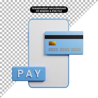 Ilustração 3d do conceito de pagamento para smartphone com cartão de crédito e ícone de pagamento