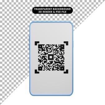 Ilustração 3d do conceito de pagamento para smartphone com código de barras