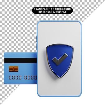 Ilustração 3d do conceito de pagamento para smartphone com lista de verificação de escudo e cartão de crédito