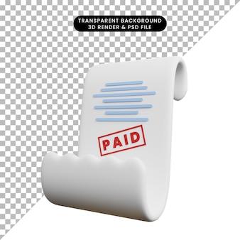 Ilustração 3d do conceito de pagamento recibo pago