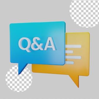 Ilustração 3d do conceito de pergunta e resposta