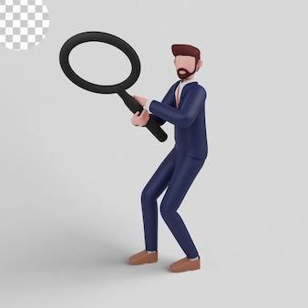 Ilustração 3d do conceito de pesquisa