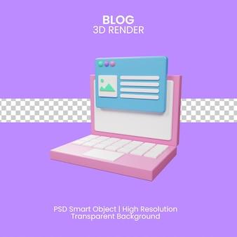 Ilustração 3d do conceito de postagem no blog