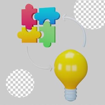 Ilustração 3d do conceito de resolução de problemas