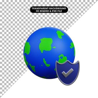 Ilustração 3d do conceito de segurança terra com escudo