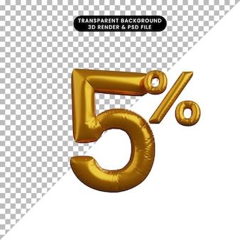 Ilustração 3d do conceito de texto numérico de balão de desconto dourado 5%