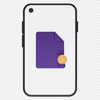 Ilustração 3d do conceito no ícone do smartphone psd