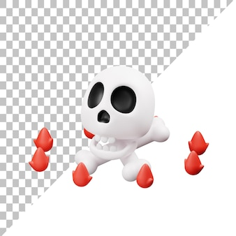 Ilustração 3d do crânio