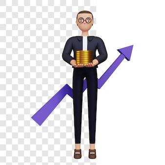 Ilustração 3d do crescimento do lucro empresarial