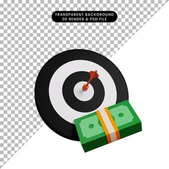 Ilustração 3d do dardo no alvo com dinheiro