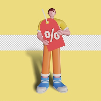 Ilustração 3d do desconto de promoção de vendas