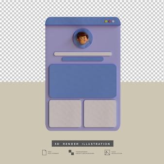 Ilustração 3d do design do aplicativo do perfil de mídia social do estilo clay