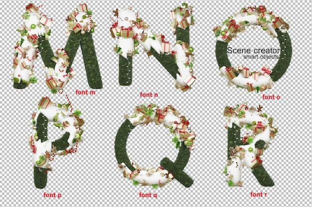 Ilustração 3d do dia de natal da fonte em inglês