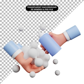 Ilustração 3d do dia global de lavagem das mãos com mãos em 3d