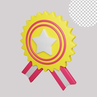 Ilustração 3d do emblema da estrela